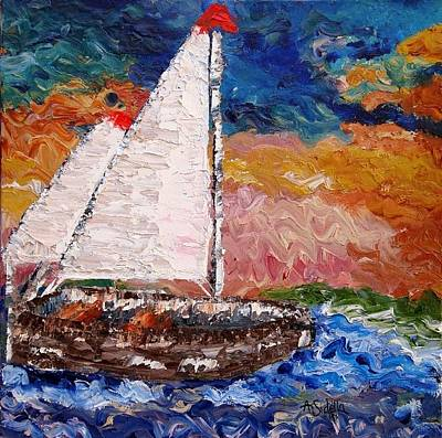 Poster featuring the painting Sunset At Sea by Annamarie Sidella-Felts