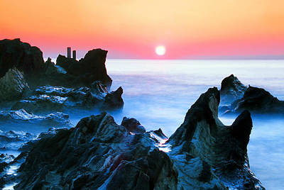 Sunset At Sea With Rocks In Foreground Poster by Midori Chan-lilliphoto