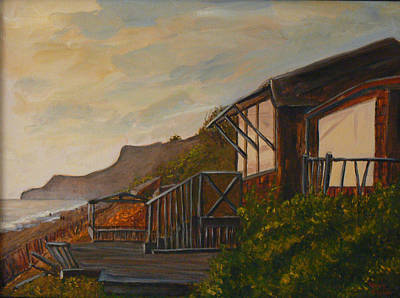 Poster featuring the painting Sunset At The Beach House by Terry Taylor