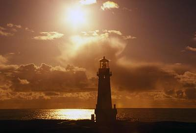 Sunset At Yaquina Head Lighthouse Poster