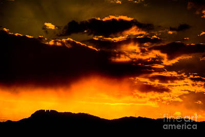 Sunset Behind Horsetooth Rock Poster