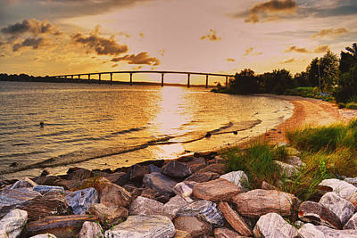 Poster featuring the photograph Sunset Bridge by Kelly Reber