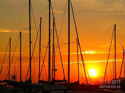 Sunset In A Harbour Digital Photo Painting Poster