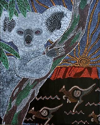 Sunset Koala And Kangaroo Poster