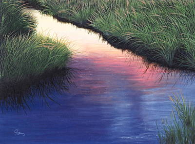 Poster featuring the painting Sunset Marsh Series by Cindy Lee Longhini