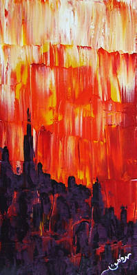 Sunset Of Melting Waterfall Behind Chicago Skyline Or Storm Reflecting Architecture And Buildings Poster by M Zimmerman MendyZ
