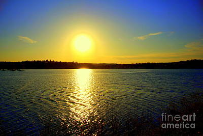 Sunset  On Horn Pond Poster