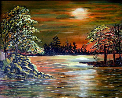 Sunset On Lake Windsor Poster by Fram Cama