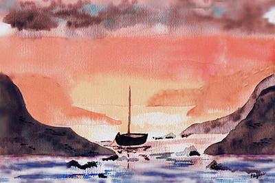 Poster featuring the painting Sunset On The Water by Paula Ayers
