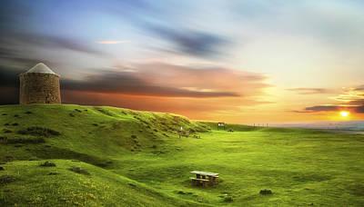 Sunset Over Burton Dassett Poster