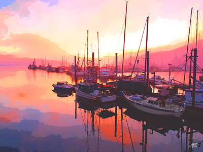 Sunset Over Harbor Poster