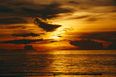 Sunset Over Pacific Ocean, Yap Islands Poster by Joe Stancampiano