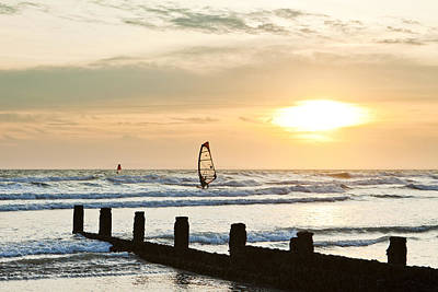 Sunset Over The English Channel At Bracklesham Poster by Stephen Dorey