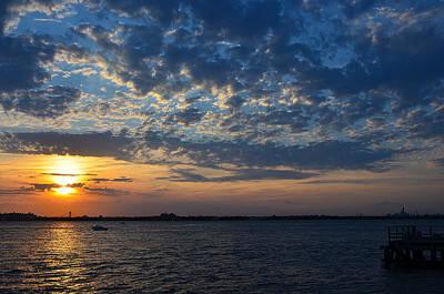 Poster featuring the photograph Sunset Rockaway Point Pier by Maureen E Ritter