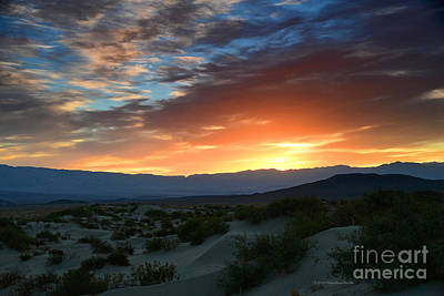 Sunset Sky Sand Dunes Death Valley National Park Poster