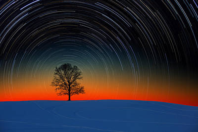 Sunset Star Trails Poster
