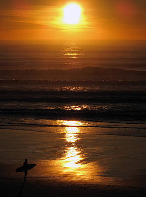 Poster featuring the photograph Sunset Surfer by Luis Esteves