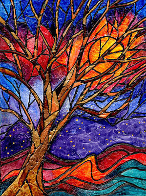 Sunset Tree Abstract Poster by Elaine Hodges