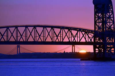 Poster featuring the photograph Sunset Verrazano Under Marine Park Bridge by Maureen E Ritter