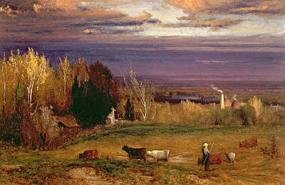 Sunshine After Storm Or Sunset Poster by George Snr Inness