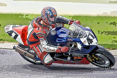 Superbike Racer I Poster by Clarence Holmes
