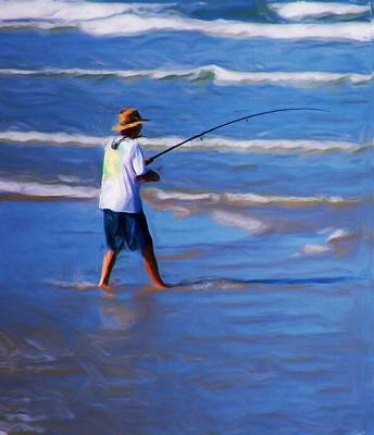 Surf Casting Poster by David Lane