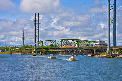 Surf City Swing Bridge Poster by Betsy Knapp