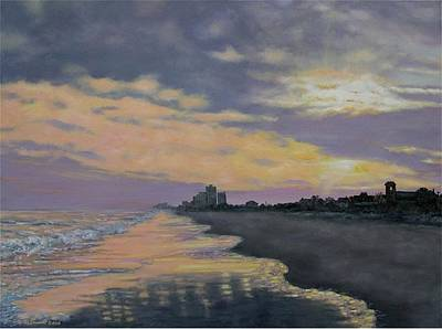 Poster featuring the painting Surf Sunset Reflections by Kathleen McDermott