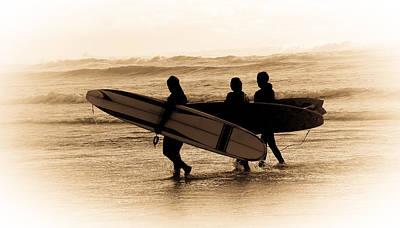 Surfs Up Sephia Poster by Steve McKinzie