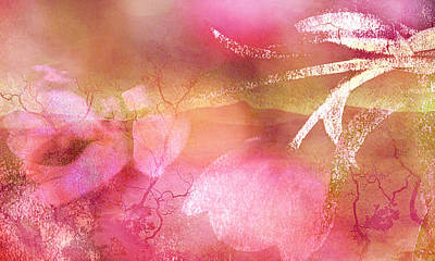 Surreal Abstract Dreamy Pink Tulips Impressionistic Poster