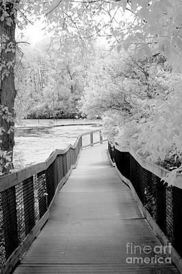 Infrared Surreal Black White Infrared Bridge Walk Poster