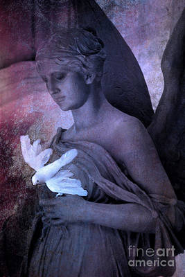 Surreal Dreamy Angel With White Dove Poster by Kathy Fornal