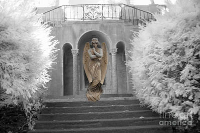 Surreal Ethereal Angel Standing On Steps - Surreal Infrared Angel Art Poster by Kathy Fornal