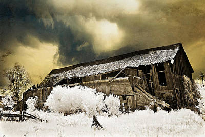 Surreal Infrared Barn Scene With Stormy Sky Poster