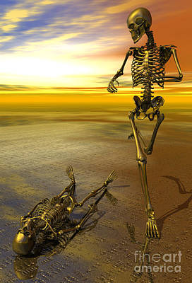 Surreal Skeleton Jogging Past Prone Skeleton With Sunset Poster