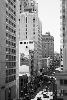 Sutter Street West View . Black And White Photograph 7d7506 Poster