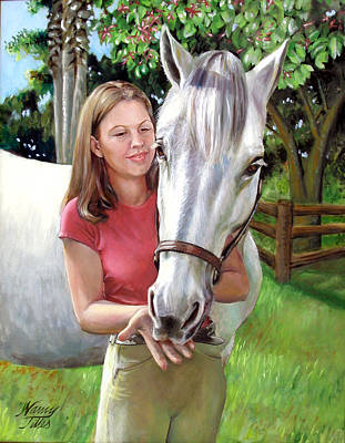 Poster featuring the painting Suzanne With A White Horse by Nancy Tilles