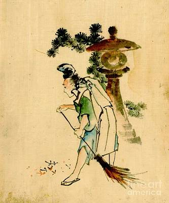 Sweeping Pine Needles 1840 Poster by Padre Art