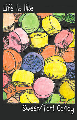 Poster featuring the drawing Sweet Tart Candy by Ana Tirolese