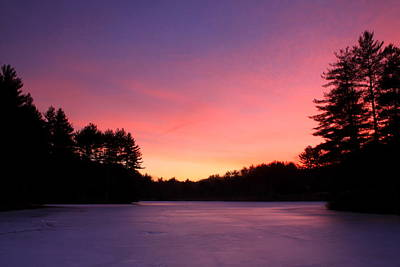 Swift River Connors Pond Winter Sunset Poster by John Burk