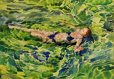 Swimer In Croatian Sea Poster by Gilly Marklew