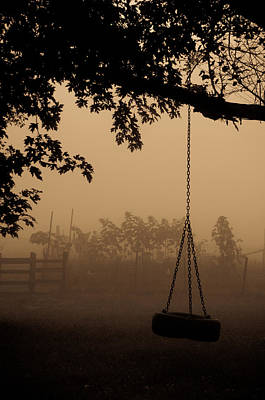 Poster featuring the photograph Swing In The Fog by Cheryl Baxter