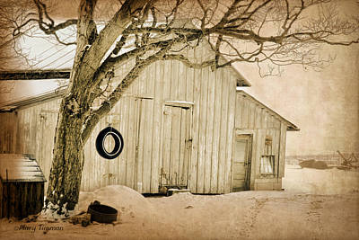 Poster featuring the digital art Swingin Barn by Mary Timman