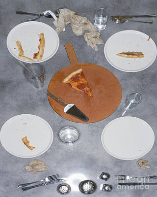 Table After Pizza Dinner Poster