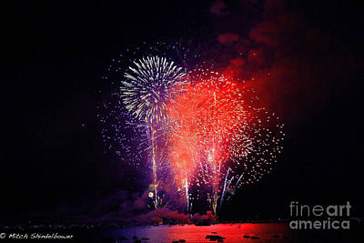 Poster featuring the photograph Tahoe Fireworks. by Mitch Shindelbower