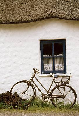 Tahtched Cottage And Bike Poster by Richard Cummins