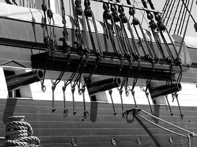 Poster featuring the photograph Tall Ship Canons Black And White by Darleen Stry