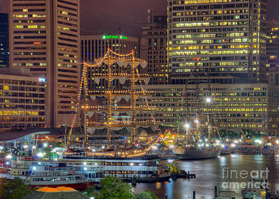 Tall Ships Docked At Inner Harbor Poster