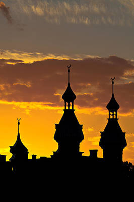 Poster featuring the photograph Tampa Bay Hotel Minarets At Sundown by Ed Gleichman