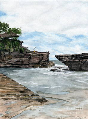 Poster featuring the painting Tanah Lot Temple II Bali Indonesia by Melly Terpening